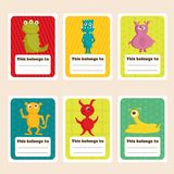 Back to school stickers with cute  monsters. Illustration Royalty Free Stock Photography