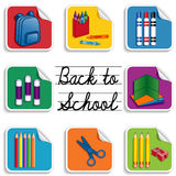 Back to School Stickers. Eight stickers for back to school, preschool, daycare, arts, crafts, and literacy projects, includes a backpack, an apple for the vector illustration