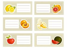Back to school stickers with fruits Royalty Free Stock Photography