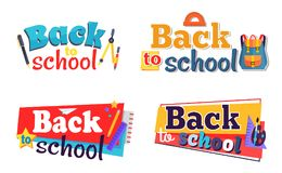 Back to School Stickers Set with Stationary Objects. Back to school stickers set with stationery objects as plastic ruler, brown pencil, notebook, colorful stars Royalty Free Stock Image