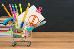 Back to school still life with copyspace on chalkboard Royalty Free Stock Images