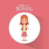Back to school student girl diadem pink skirt backpack Royalty Free Stock Photos