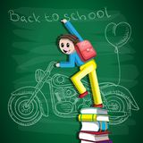 Back to school, the student is standing on a stack of books with chalk in his hand, on the Board painted a motorcycle and a vector illustration