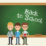 Back to school students boy chalkboard text Royalty Free Stock Image