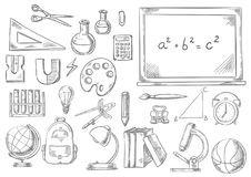 Back to school study supplies vector sketch icons Royalty Free Stock Image