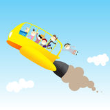 Back to School with Style. Rocket bus full of teenagers flying through the sky Stock Images