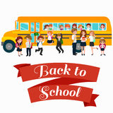 Back to School summer sale background. Boy and girl at the blackboard, education concept banner Stock Images