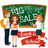Back to School summer sale background. Boy and girl at the blackboard, education concept banner Stock Image