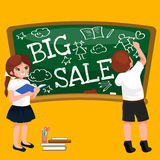 Back to School summer sale background. Boy and girl at the blackboard, education concept banner Stock Photography