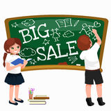 Back to School summer sale background. Boy and girl at the blackboard, education concept banner.  Royalty Free Stock Photo