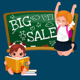 Back to School summer sale background. Boy and girl at the blackboard, education concept banner.  Stock Photo