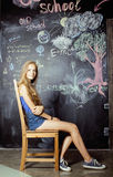 Back to school after summer vacations, two teen Royalty Free Stock Images