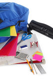 Back to school supplies. Some back to school supplies placed on white background Stock Photos