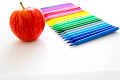 Back to school supplies and an apple for the teacher Stock Photos