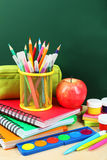 Back to school supplies and board Stock Photography
