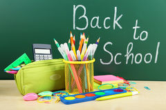 Back to school supplies and board Stock Image