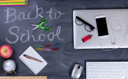 Back to school supplies both modern and past history Royalty Free Stock Image