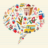 Back to school supplies in bubble shape Stock Images