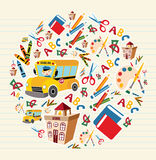 Back to school supplies circle royalty free illustration