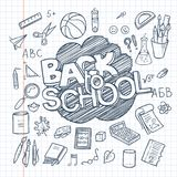 Back to School Supplies collection. Sketchy notebook doodles set with lettering stock illustration