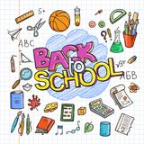 Back to School Supplies collection. Sketchy notebook doodles set with lettering royalty free illustration