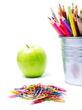 Back to school supplies with Color pencils in pencil  holders on Royalty Free Stock Photo