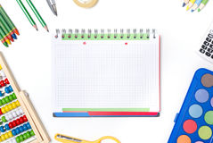 Back to school supplies composition. Stock Photo