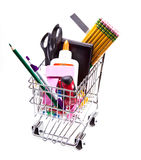 Back to school supplies concept. A shopping cart full with school supplies Stock Photo