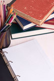 Back to school. School supplies on desk. Education concept with copy space Royalty Free Stock Photos