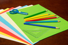 Back to School Supplies on Desk Stock Photography