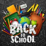 Back to School with school supplies and doodles on black chalkboard background. Illustration of Back to School with school supplies and doodles on black stock illustration