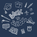 Back to school supplies doodles. On blackboard Stock Photo