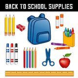 Back to School Supplies. For elementary, middle school, kindergarten, daycare, preschool: backpack, crayons, yellow pencils with erasers, sharpener, markers Royalty Free Stock Photos