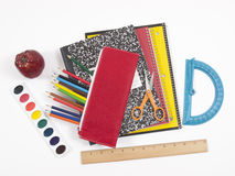 Back to school supplies on gray background Royalty Free Stock Images