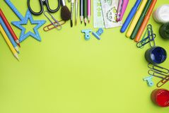 Back to School. School Supplies Green Board. Education, Studing and Education Concept. Banner. Back to School. School Supplies Green Board. Education, Studing royalty free stock photo