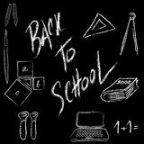 Back to School Supplies - Hand-Drawn Vector Illustration Design Stock Images
