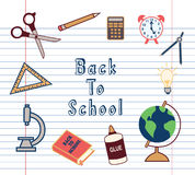 Back to School Supplies Icons Set Royalty Free Stock Images