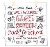 Back to School Supplies ,lettering.Sketchy Notebook Doodles Stock Image