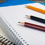 Back to School, supplies, notebook on the grey background. squar Royalty Free Stock Photos