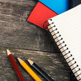Back to School, supplies, notebook on the grey background. squar Stock Images