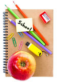 Back to school supplies with Notebook, red apple  and pencil on Stock Image