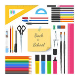 Back to school supplies set Stock Photos