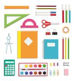 BACK TO SCHOOL SUPPLIES SET WITH ISOLATED ELEMENTS. A collection of bright color tools for back to school from a top view vector illustration