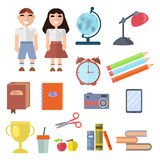 Back to school supplies set vector illustration. Stock Image