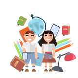 Back to school supplies set vector illustration. Stock Images