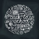Back to School Supplies Sketchy chalkboard. Circle Royalty Free Stock Image