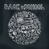 Back to School Supplies Sketchy chalkboard.Circle. Back to School Supplies Sketchy chalkboard Doodles  lettering with  Swirls- Hand-Drawn.Circle  Composition Stock Image