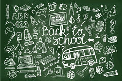 Back to School Supplies Sketchy chalkboard. Stock Image