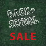Back to School Supplies Sketchy chalkboard Doodles Stock Photos
