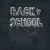Back to School Supplies Sketchy chalkboard.Doodles Stock Images
